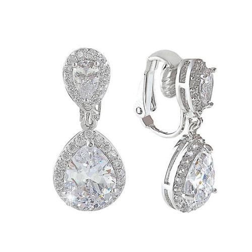 Premium Pear Drop Clip On Earrings