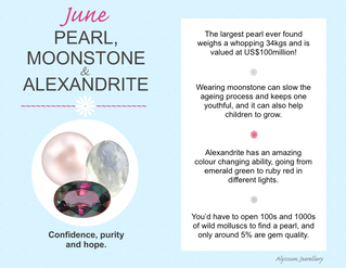 June's Birthstones – Pearl, Moonstone and Alexandrite