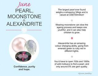 June's Birthstones – Pearl, Moonstone and Alexandrite
