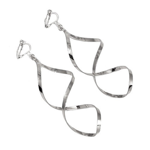 Spinner Twisted Clip Earrings, Silver