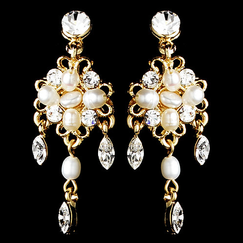 Freshwater pearl crystal chandelier screw clip earrings
