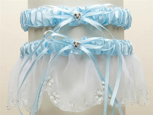 Bridal Tossing Garter Set with Crystal Hearts