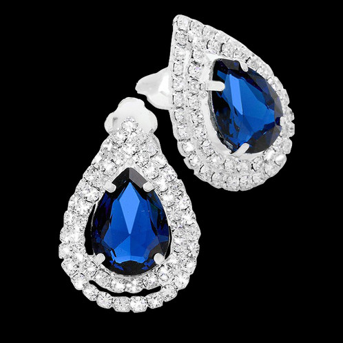 Elegant Evening Clip On Earrings Featuring A Large Royal Blue Rhinestone Framed By Double Row Of Clear Rhinestones These Simple Measure
