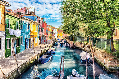 Colorful houses along the canal, island