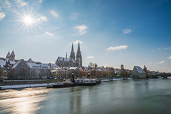 Regensburg at winter with the promenade