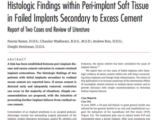 Histologic Findings within Peri-Implant Soft Tissue in Failed Implants