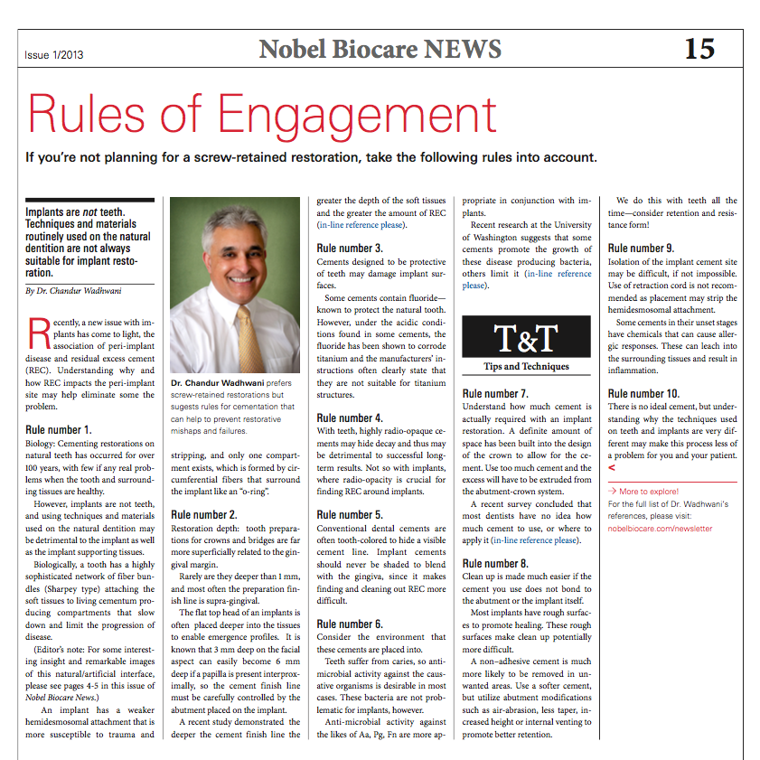 "Nobel Bloccare ""Rules of Engagement"" - click to download the complete article by Dr. Chandur Wadhwani"