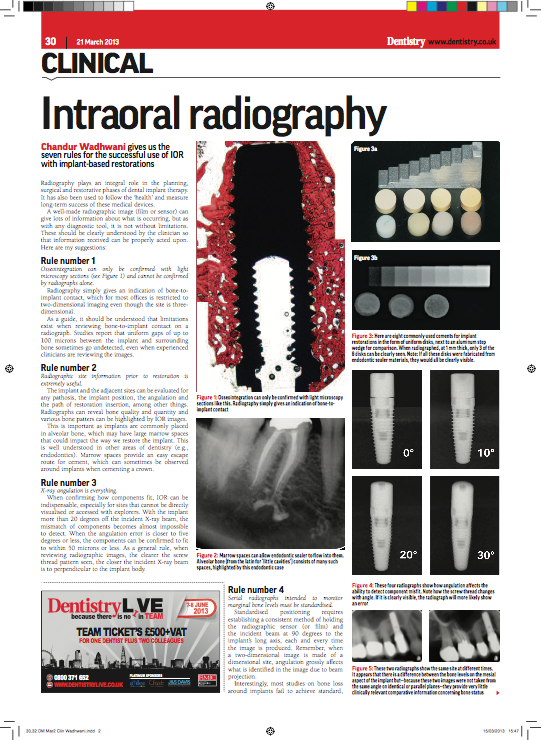 "Dentistry Magazine Features Dr. Wadhwani - Click the preview to read his article ""Intraoral Radiography"""