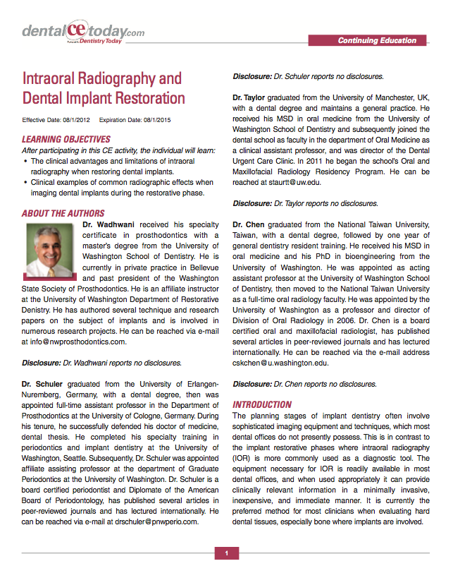 Dentistry Today - Click to download the complete article by Dr. Wadhwani et al