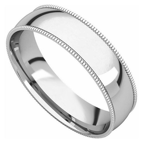 14k White Gold 5-mm Standard-fit Milgrain and polished Wedding Band