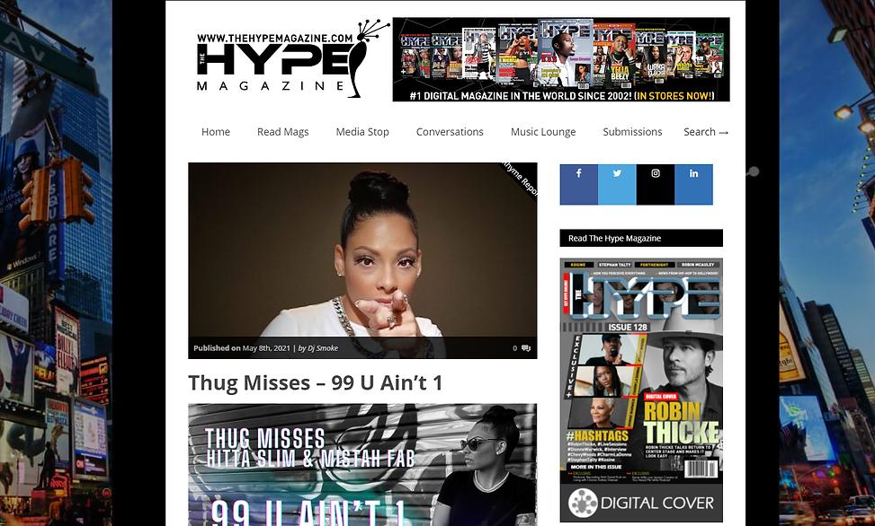 Thug Misses Hype Magazine 99 u aint 1 yfn 707 anthem female rapper interview robin thicke bay area vallejo hitta slim mistah fab fabby davis jr eargazm