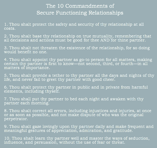 10 commandments of secure functioning relationships PACT therapy