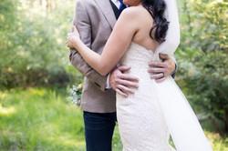 bride and groom dress detail