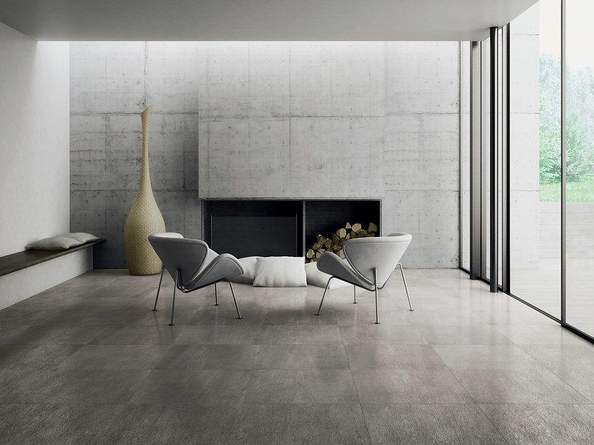 Modern living room with grey  tiles, sea