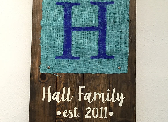 Burlap Family Sign