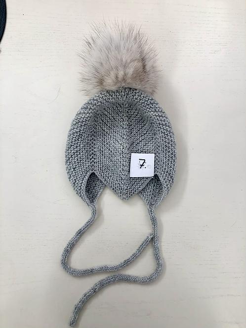 3/6 mdr - grå ægte pompon - nr 7