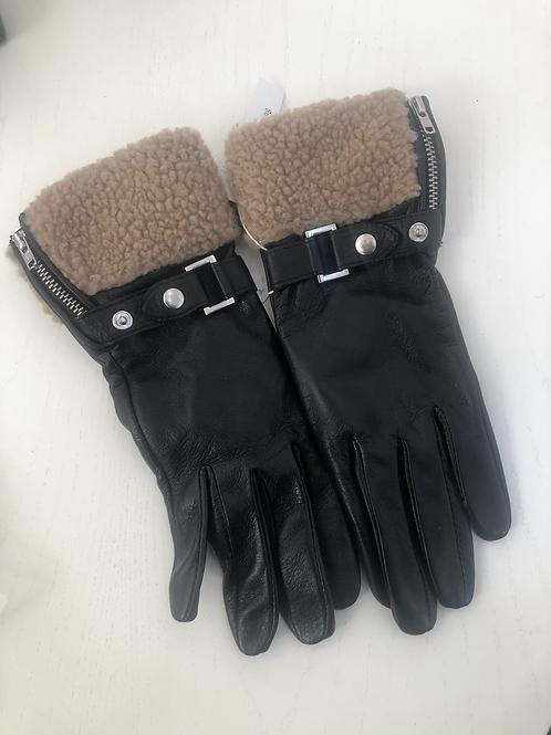 Handsker sort med lammeskind tilbud