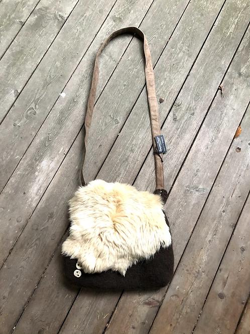 Unika taske uld med lammeskind