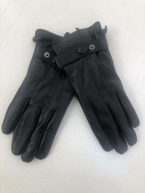Sort handske med blød pels foer