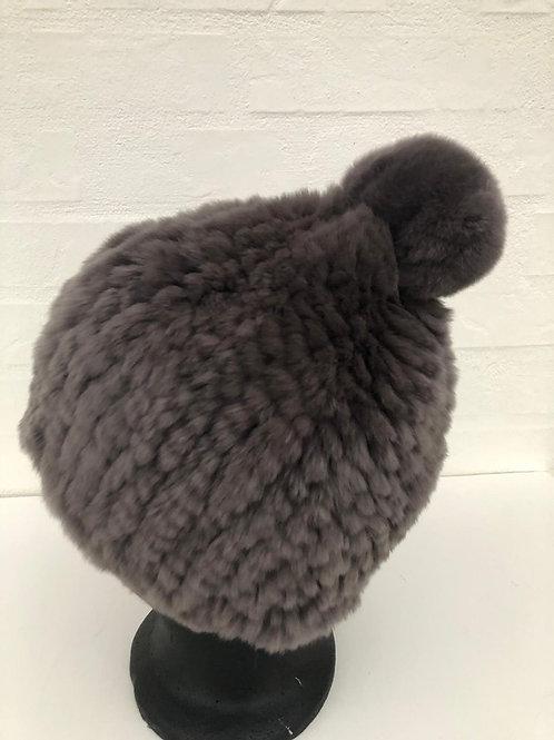 strikket kanin hue grå