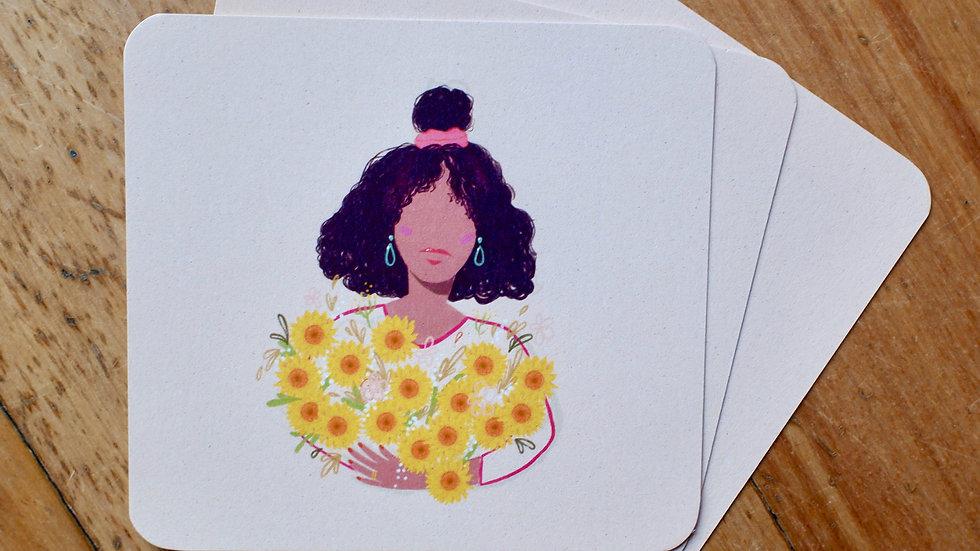 Bloemenmeisje Zonnebloem - wenskaart