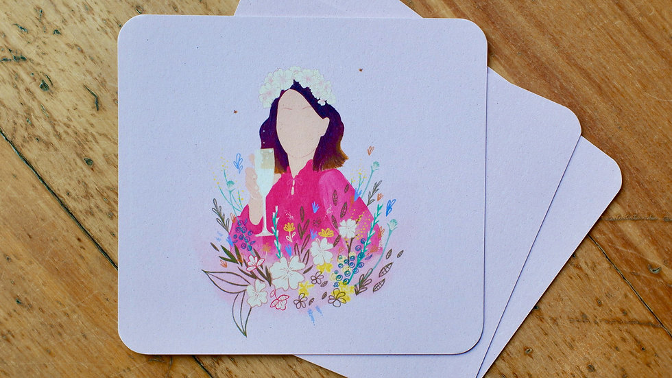 Bloemenmeisje Roze - wenskaart