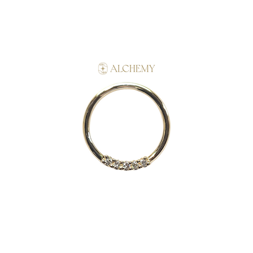 "14K Gold 5 Gem Seam Ring 18g 5/16"""