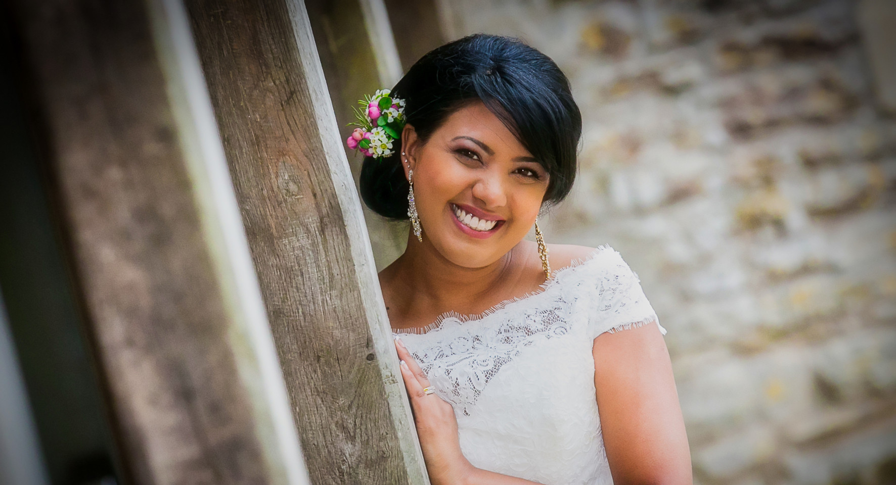 beautiful bride looking around posts