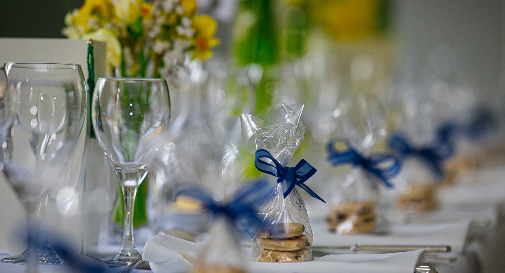 wedding glasses at table