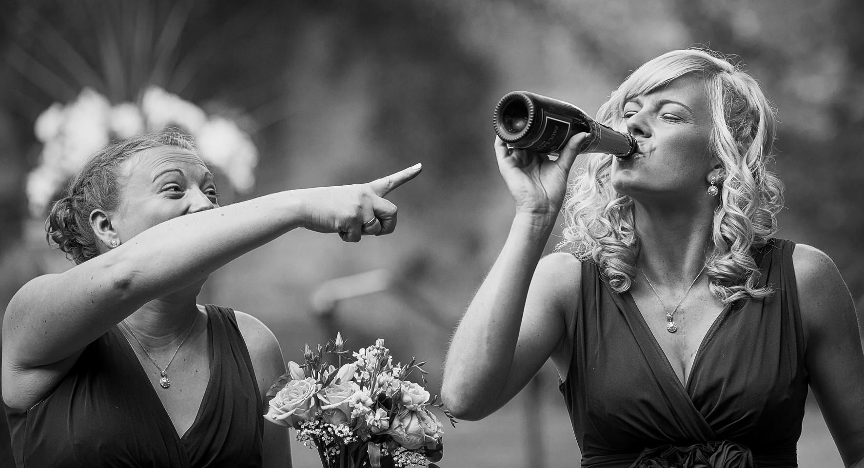 bridemaid knecking bottle