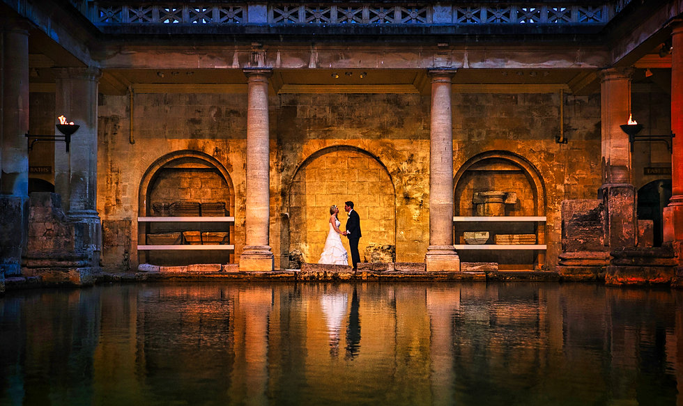 Amazing wide shot of Bride and Groom in the Roman Baths, Bath.