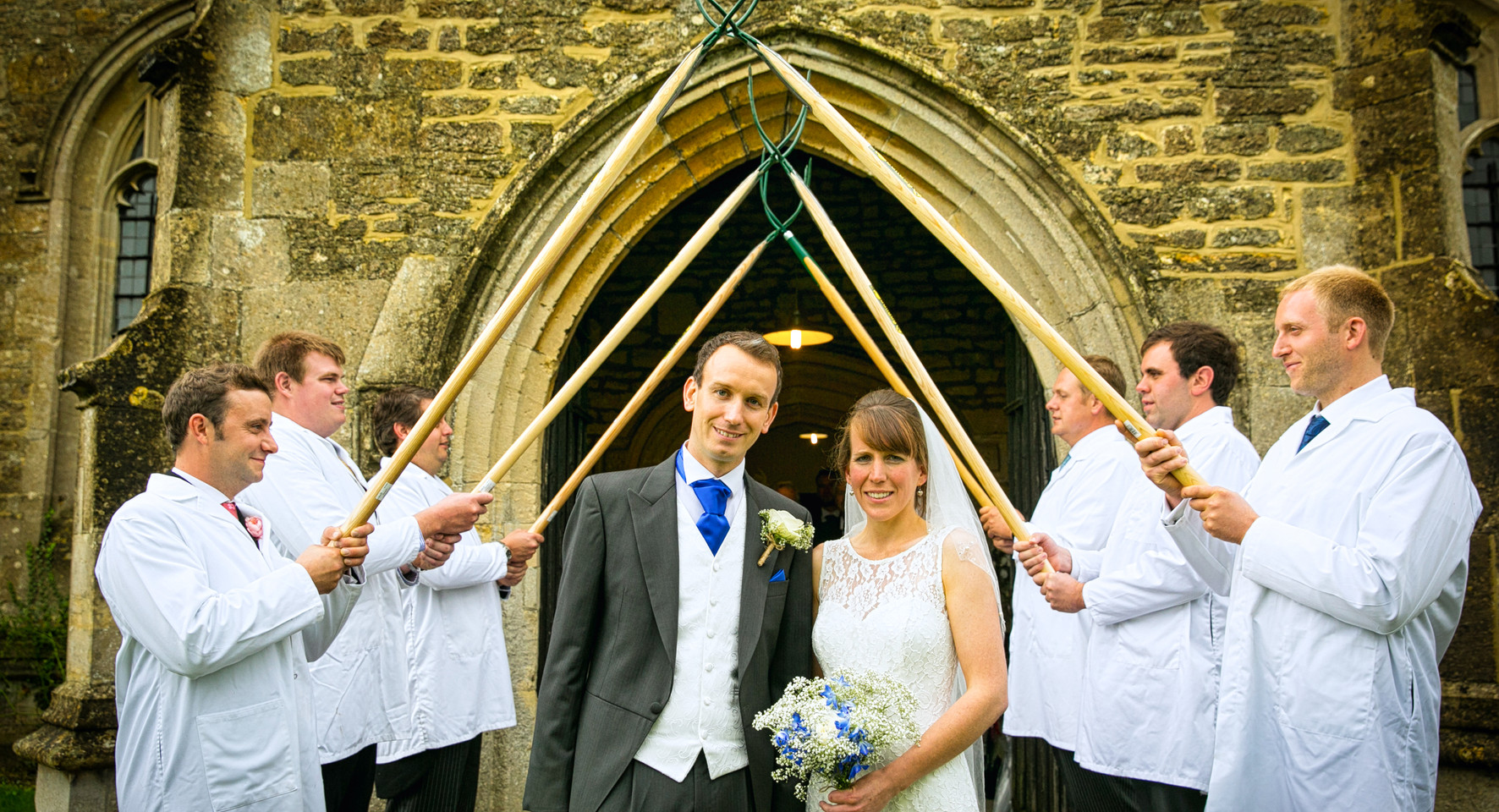 bride and groom farmers