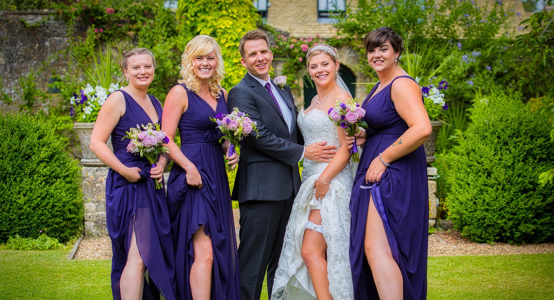 Bridal party posing legs
