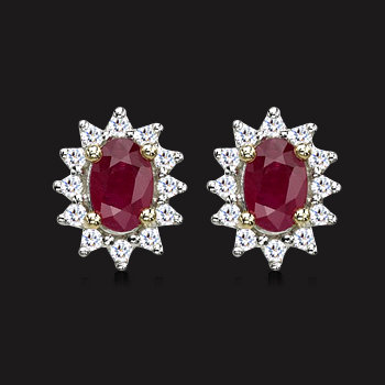 Ruby with Diamond Cluster Ring