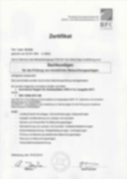 Sachkundiger für die Prüfung von künstlichen Beleuchtungsanlagen Zertifikat