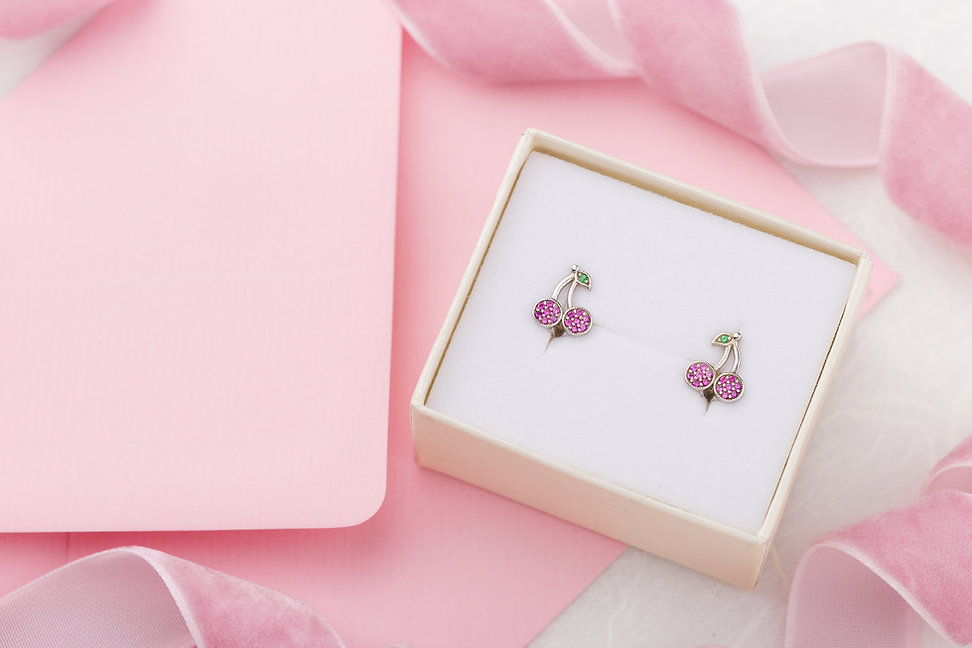Cherry shaped earrings with crystals in
