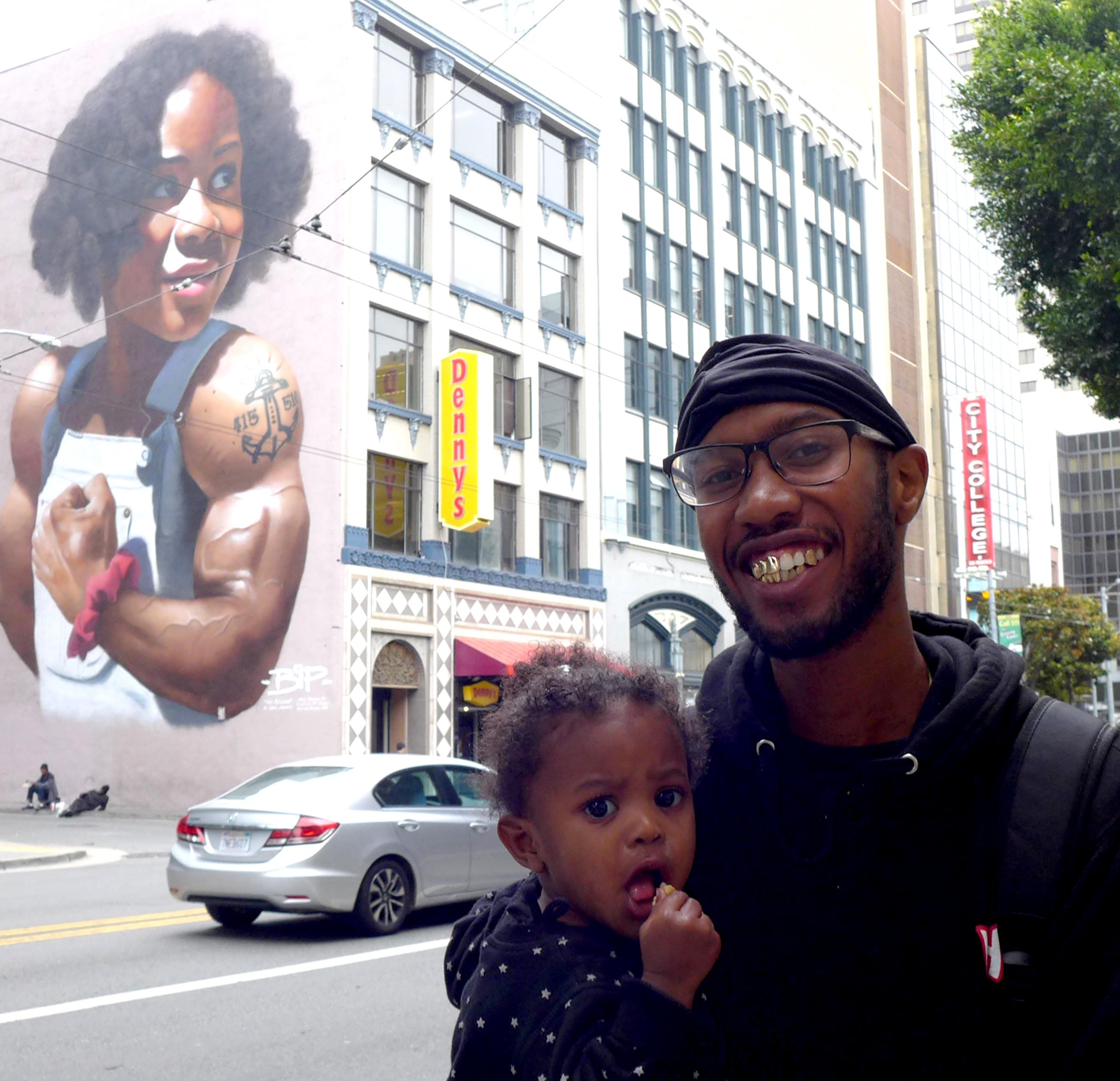BIP mural, dad and kid