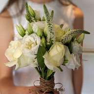 Hand tied rose, veronica and eustoma bouquet
