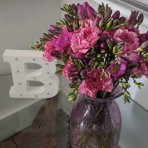 Fuchsia bunch flowers pink bouquet freesias carnations letterbox send flowers west sussex