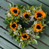 Sunflower, daisy and solidago heart tribute