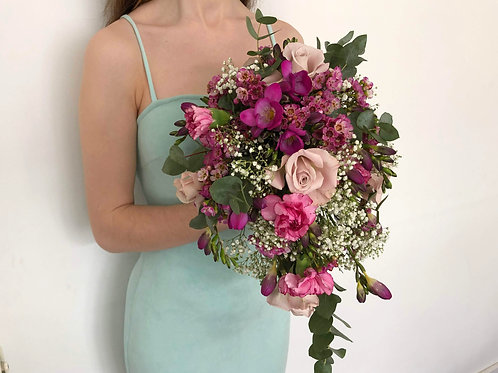Cascading shower bridal bouquet pink eucalyptus rose freesias carnations wedding flowers