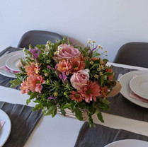 Basket centrepiece - roses, chrysanthemum and lavender