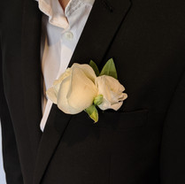 White rose and eustoma button hole