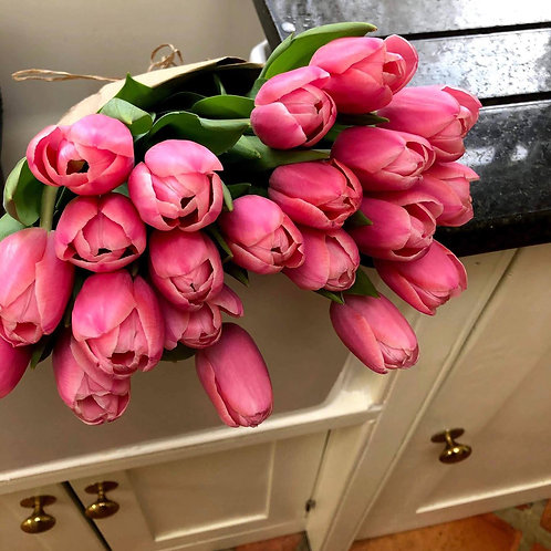 bouquet of pink tulip flowers