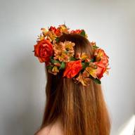 Orange rose and alstromeria flower crown