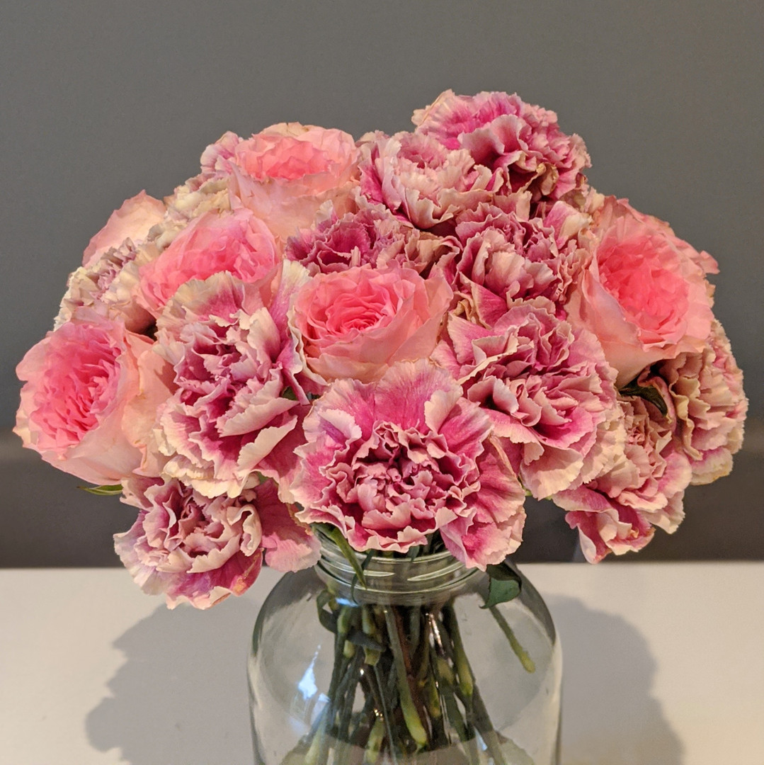 Carnation and roses