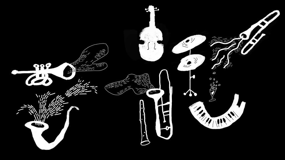 le chant, le piano, un sax, une guitare..