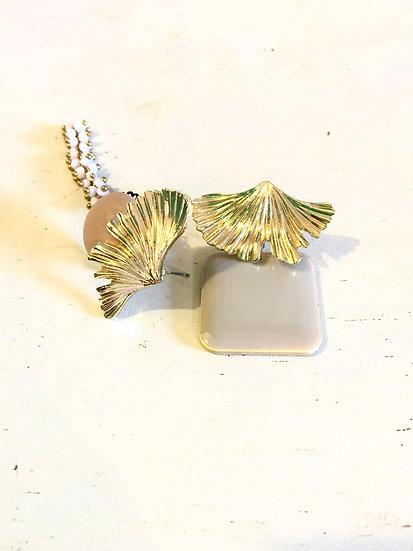 orecchini geometrici oro/panna/sabbia