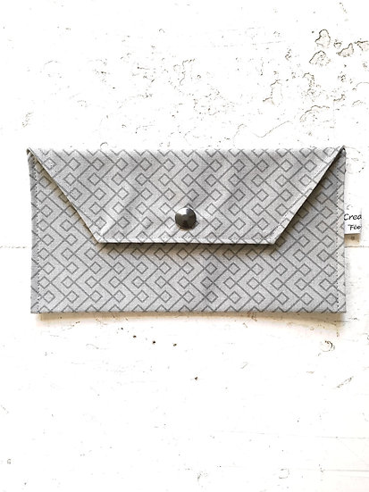 pochette mascherine grigio geometrico | interno grigio