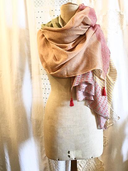 sciarpa cotone   mix pastello e rosso